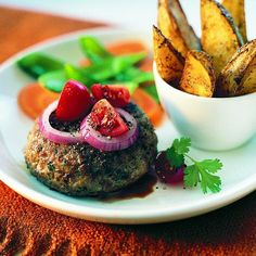When it comes to comfort food, nothing beats a good burger! Lighten up — but keep the taste high — by using lean ground turkey instead of beef, then round out the meal with healthy vegetables. Chunky Country Fries To make delicious Chunky Country Fries, preheat oven to 500F (260C). Spray a rimmed baking sheet …