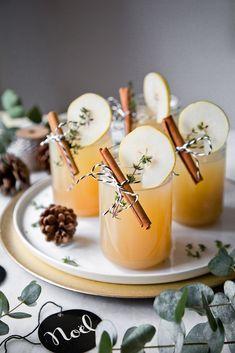 Weihnachtlicher Drink mit Lillet, Birne und Zimt