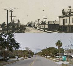 Station 14 Sullivan,s Island, back then and now. Note the trolley tracks In the 1890s a trolley line was built from Mt. Pleasant to the Isle of Palms, known as Long Island back then. Charleston beach goers could catch the ferry, Commadore Perry, and ride to Mt. Pleasant and then catch the trolley. The Grace Memorial Bridge, opened in 1929, put the ferry and trolley out of business Charleston Beaches, Sullivans Island, Isle Of Palms, Long Island, Bridge, Street View, Note, Business, Building
