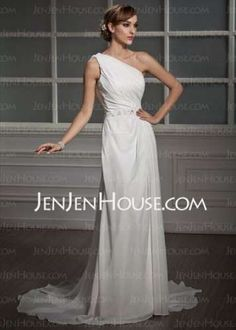 bbb6abe3615 A-Line/Princess One-Shoulder Court Train Chiffon Wedding Dress With Ruffle  Lace Beading Sequins