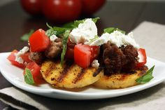 Fried Polenta with Pork, Tomato, Basil & Goat Cheese