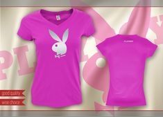 PLAYBOY BUNNY T-shirts V-neck Fitted Fuchsia - Silver print Size: S -XXL(PB607) #SOLS #PersonalizedTee