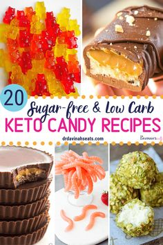 A collection of low carb & keto candy recipes for chocolate & fruity treats. All of these low carb c Chocolate Candy Recipes, Low Carb Chocolate, Fudge Recipes, Keto Recipes, Dessert Recipes, Healthy Recipes, Shake Recipes, Keto Foods, Cheese Recipes