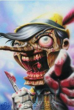"""I have no strings"", a zombie pinocchio! Acrylic on Canvas I have no strings Zombie Cartoon, Zombie Art, Cartoon Art, Cartoon Monsters, Disney Horror, Zombie Disney, Dark Disney, Disney Fun, Twisted Disney Princesses"
