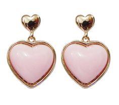 Brinco dourado de coração com pedra rosa, super delicado. 2,5 cm - altura