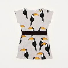Kleding :: Jurkjes & Rokjes :: Jurkjes :: Peuterjurkje Mini Rodini Tucan Grey - GROM Online Tienerkleding Kinderkleding en Kinderschoenen.