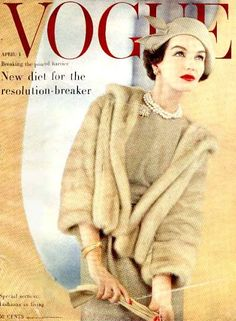 Joanna McCormick, Vogue cover by Karen Radkai, April 1957 Vogue Vintage, Vintage Vogue Covers, Vintage Mode, Vintage Glam, Vintage Style, Vintage Beauty, Vogue Magazine Covers, Fashion Magazine Cover, Fashion Cover