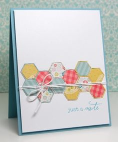 sweet and simple card with a hexagon die cut band ... like the color combo and the clean design ...