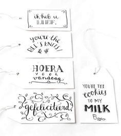 Gifttags, labels: Illustrator Marloes de Vries het PapierAtelier @ ShowUP. Seen on HappyMakersBlog.com. Photo: BloomInspiration Hand Lettering Alphabet, Hand Lettering Quotes, Creative Lettering, Doodle Drawing, Chrismas Cards, Bullet Journal Inspiration, Clipart, Gift Tags, How To Draw Hands