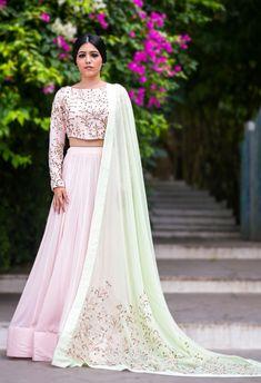 Pale pink & mint floral embroidered lehenga set by Prathyusha Garimella - Shop at Aza