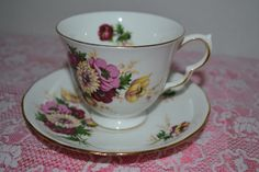 Vintage QUEEN ANNE Bone China Tea Cup Saucer by LavenderNThyme, $18.95