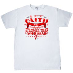 Keep inspired with Let Faith Be Stronger Than Your Fear T-Shirt for Squamous Cell Carcinoma  awareness featuring an eye-catching text design with awareness ribbon. $11.99 www.store.gifts4awareness.com