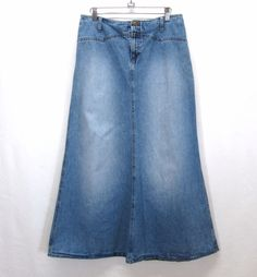 RALPH Lauren Long Maxi Modest Denim SKIRT Womans 8 Blue Jean Vintage Faded…