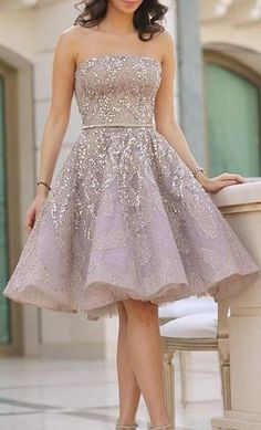 Short Strapless Homecoming Dress