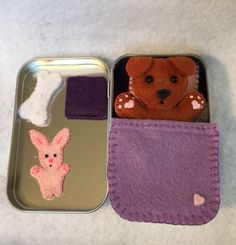 Lil' Maties - dachshund  - purple bed set in tin by MatiesMeadow on Etsy https://www.etsy.com/listing/233571581/lil-maties-dachshund-purple-bed-set-in