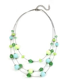 Floating Bead Necklace - Mint