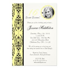 5x7Light Yellow Damask 16 Birthday Party Invtation Announcements