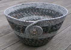 Coiled Fabric Basket, Coiled Fabric Bowl, decorative bowl, grey on Wanelo $20.00