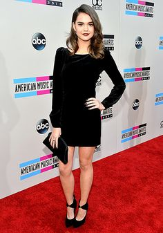 Maia Mitchell looked svelte at the 2013 AMAs in a black sleeved minidress with detailing in the back.