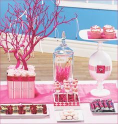 Here's the entire Pink Ribbon Dessert Buffet we recently created in honor of National Breast Cancer Awareness Month (coming up in October), which features Candy Table, Candy Buffet, Dessert Table, Birthday Crafts, Birthday Parties, Do It Yourself Jewelry, Pink Trees, Pink Parties, Everything Pink