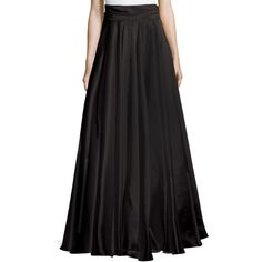 Milly Bow-Back Silk Maxi Skirt ($955) ❤ liked on Polyvore featuring skirts, black, long silk skirt, silk skirt, ankle length black skirt, maxi skirt and ruched skirt