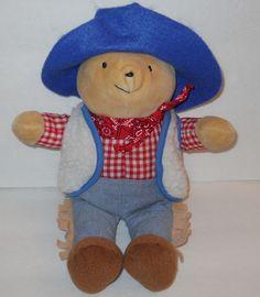 "Eden Cowboy Paddington Bear Red Plaid Shirt Plush Stuffed Sherpa Vest Hat 11""  #Eden"