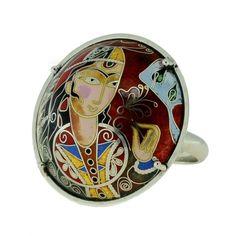 Silver ring with enamel-Pokani
