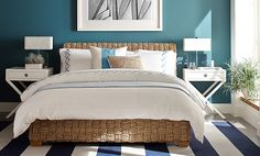 Guest Bedroom | Williams-Sonoma LOVE  this paint color. Matches the pillow in  Adriatic Blue. Goes well with white bedding and natural headboard