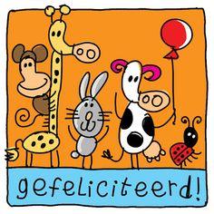 Verjaardagsvisite van konijn, koe, aap en giraffe- Greetz. Leuke kaart van Greetz > als dit geen beestenbende is.