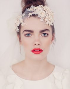 Beautiful lace bridal headdress from Jannie Baltzer - Ella (as seen in Vogue Brazil, photography by Sandra Aberg)