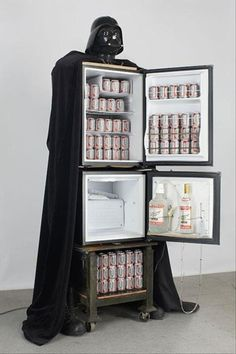 Darth Vader refrigerator - strictly for your man cave so I NEVER have to look at it. Man cave my ass this will be mine in my kitchen thanks very much. Decoracion Star Wars, Beer Fridge, Mini Fridge, Darth Vader, Man Cave Garage, Garage Bar, Your Man, Next At Home, My New Room