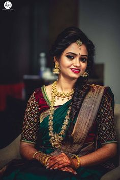 Bhavya Sri at Silk India Expo Wedding Saree Blouse Designs, Half Saree Designs, Pattu Saree Blouse Designs, Blouse Designs Silk, Bridal Hairstyle Indian Wedding, Indian Bridal Outfits, Indian Bridal Fashion, Bridal Hairstyles, Bridal Sarees South Indian