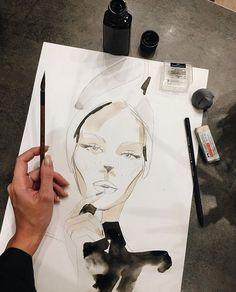 Best Ideas For Fashion Design Inspiration Art Sketch Books Fashion Illustration Sketches, Fashion Sketches, Illustration Art, Sketchbook Drawings, Drawing Sketches, Drawing Faces, Tinta China, Fashion Design Drawings, Sketchbook Inspiration
