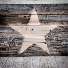Rustic Reclaimed Wood Etched Star 28 x 20 x 1-1/4 by ShopAtBear