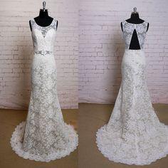 2017 Fashion Lace Ivory Appliques Elegant Open Back Vintage Princess Mermaid Bridal Gown Wedding Dresses, WD0081