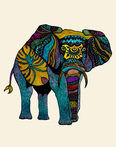 Poster Print - Elephant of Namibia Tribal Illustration - For Your Home Decor from Pom Graphic Design. Saved to Pom Graphic Design & Fine Art's. Tribal Elephant, Colorful Elephant, Elephant Love, Elephant Tattoos, Elephant Quilt, Elephant Parade, Indian Elephant, Colorful Animals, Elefante Tribal