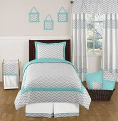 Turquoise and Gray Zig Zag Childrens and Kids Bedding Set - 4 pc Twin Set by Sweet Jojo Designs by Sweet Jojo Designs. $99.99. This set uses a modern gray and white Zig Zag print combined with turquoise and white solid cottons. 4 piece bedding set: 1-Lightweight Comforter, 1-Standard Sham, 1-Twin Bed Skirt, 1-Window Valance. Dimensions: Lightweight Comforter (62in x 86in) Standard Sham (20in x 26in) Valance (54in x 15in). This design has matching accessories such as hamper...