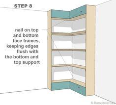 step 8 - corner bult-in bookshelves