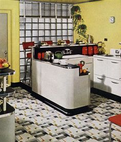 Check out the crazy-patterned linoleum floor in this 1940s kitchen!