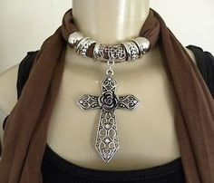 New Womens Pendant Scarf Necklace Jewelry Choker Brown Scarf Cross Rose BLing