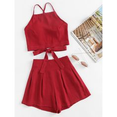 SheIn(sheinside) Bow Tie Open Back Cami Top And Shorts Set (€13) ❤ liked on Polyvore featuring tops, burgundy, red camisole, red cami and burgundy camisole