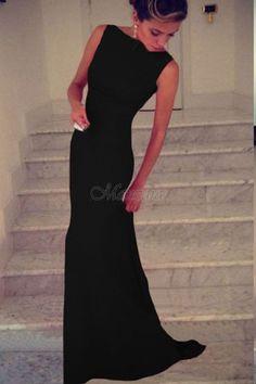 ABITO LUNGO MELISSA nero, vestito elegante, da sera, senza maniche - ABITI 2017 - Abiti
