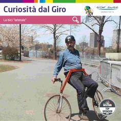 """#Curiosità dal Giro. La bici laterale fu inventata in Irlanda da Michael Killian secondo cui è """"più manovrabile delle bici convenzionali e ci si muove con moltissima grazia"""". Chi ci vorrebbe fare un giro?"""