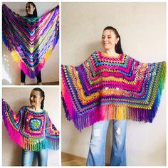 Festival Poncho Pride Women Poncho Fringe, Crochet Triangle Shawl Wraps, Rainbow Plus size poncho, Mom-Birthday-Gift-from-Daughter-For-Her Plus Size Festival Outfit, Festival Outfits, Crochet Poncho, Knitted Poncho, Festival Poncho, Poncho With Sleeves, Vegan Clothing, Boho Clothing, Size Clothing