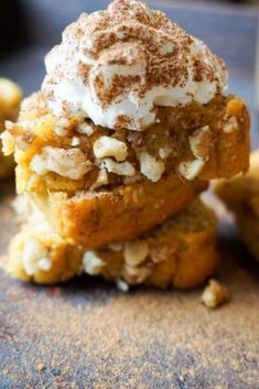 Pumpkin Bread with walnuts and whipped cream