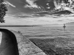 Sky over the lake Geneva at Morges, Switzerland Lake Geneva, Black And White Photography, Switzerland, Places Ive Been, Images, Sky, Beach, Water, House