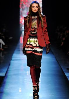 Sophisticated Hip Hop Fashion!  GraffitiPrints R the it PrintTrend 4Fall-Winter2012!  Adding The Satin Blazer (in dark Tone, Here theburgundythe trendy color 4 fall )  2 theGraffitiPrinted Shift,  gives aSophisticatedHipHop Look.  JeanPaulGaultierFall-Winter2012.
