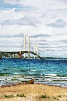 Mackinac Bridge with Gull - 11x14 Giclee' print Gallery Wrapped