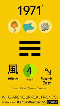 Feng Shui BaGua basics if you're a woman born in 1971 (Chinese zodiac calendar), year of the Metal Pig (Boar), by Karma Weather #KarmaWeather