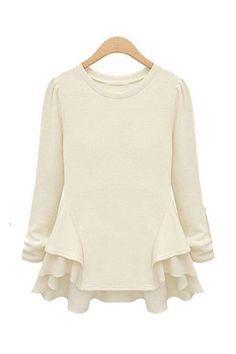 White Irregular O-neck Long Sleeves Cotton T-shirt
